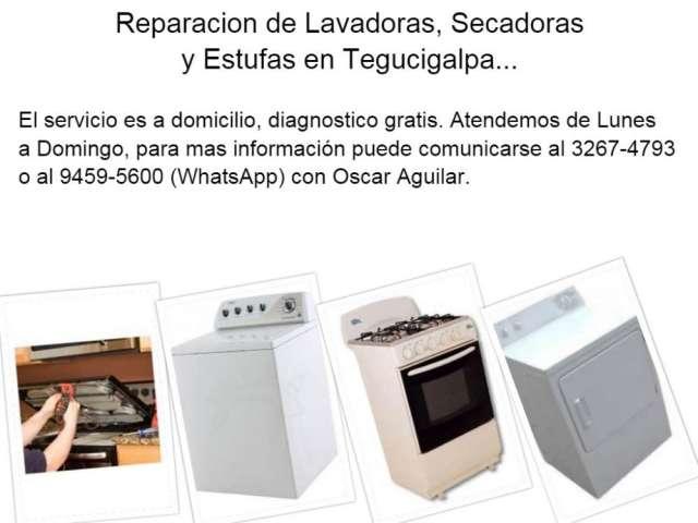 Servicios de reparación de lavadoras, secadoras y estufas en tegucigalpa...